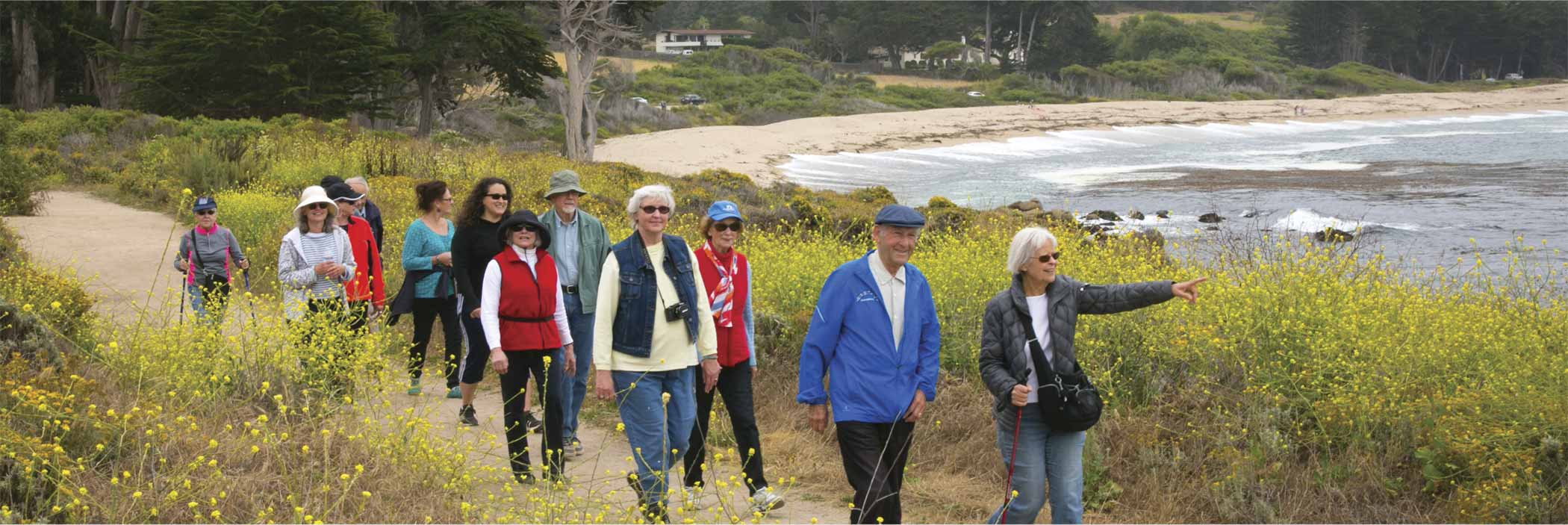 Carmel Foundation Walking Group walking near the ocean