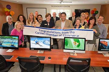 Ribbon cutting with the Carmel Chamber of Commerce in the newly refurbished Techonology Center
